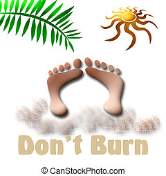 sunburn sign - tropical beach vacation, don\\\'t burn, sign...