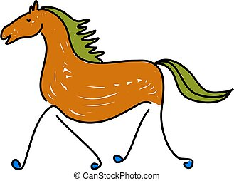 horse - a horse isolated on white drawn in toddler art style