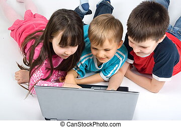children with laptop - children learning with laptop