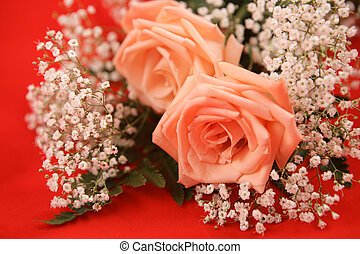 Romantic Roses on Red - A bouquet of pink roses and...