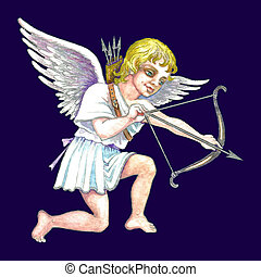 Stock illustration of Cupid - Hand drawn illustration of...
