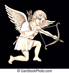 Stock illustration of Vintage Cupid - Hand drawn...