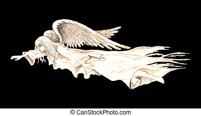 Stock illustration of Vintage Guardian Angel - Hand drawn...