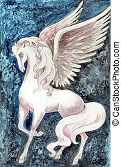 Stock illustration of White Pegasus - Hand drawn...