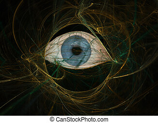 Eye of Complexity - Abstract of a blue eye in a complex,...