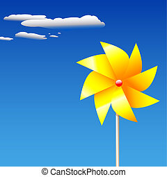 SummerPinwheelToy - A yellow, pinwheel or whirligig...