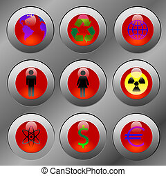 Hot Button Issues - DANGER! Ruby-red hot-button issue icons....
