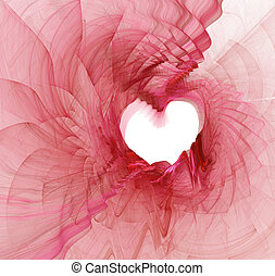 Flowing Heart Border - Highly detailed abstract heart shaped...