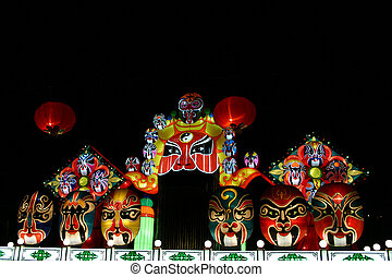Opera Masks - chinese opera masks during lantern festival...