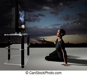 HDTV BigScreen Impact - 3D render of a TV watchers dramatic...