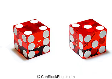Dice on White - Real, red casino dice on a white background...