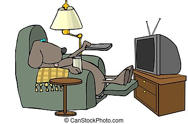 Remote control dog - This illustration depicts a dog sitting...
