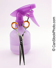 Hair Stylist - Photo of a spray bottle and hair cutting...