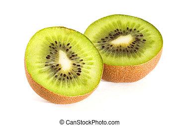 Kiwi slices - Kiwi fruit slices on a white background