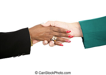 Female Handshake - Closeup of two diverse female business...