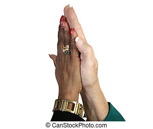 High Five with Path - Closeup of business women\\\'s hands...