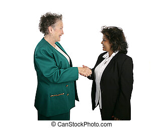 Female Shake Hands - A diverse female business team shaking...