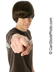 Thirteen - Cute 13 year old boy pointing finger. White...