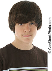Thirteen - Cute 13 year old boy in brown shirt over white...