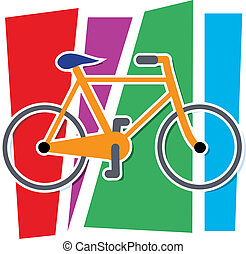 Colorful Bicycle - Stylized Bicycle on a multi colored...
