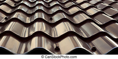 Metal Tiles - Metal tile roof useful for background or...