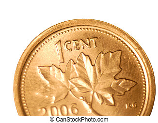 canadian penny - close up details on maple leaf side of...
