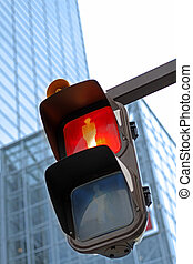 Traffic light in a city