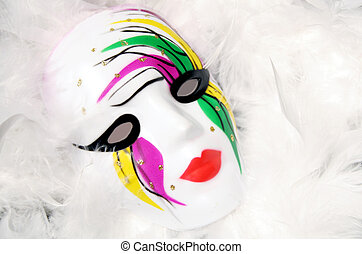 Mardi Gras Mask - Painted Mardi Gras mask on white feathers