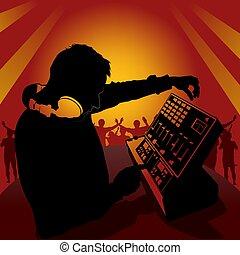 DJ in action - Coloured illustration.