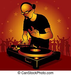 DJ star - Coloured illustration.