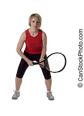 tennis - young woman playing tennis on white background