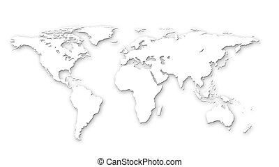 Continents 1 - Continents on white paper