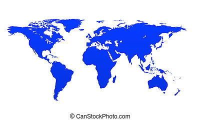 Continents 2 - Blue continents on white paper