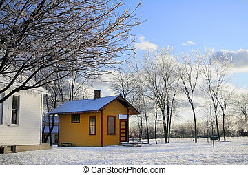 Winter cabin - Yellow cabin and an icy winter scean