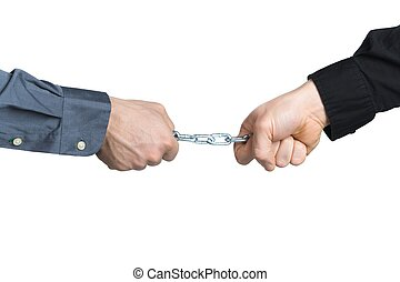 Businessmans hands - Business men holding a chain...