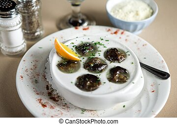 Snails and garlic
