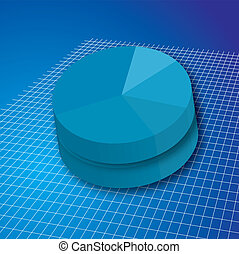 pie grid double - A double pie chart in blue on a white grid...