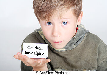 children have rights - young boy with a card