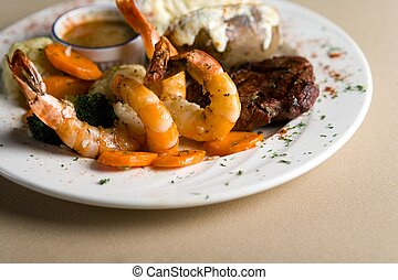 Steak and shrimps