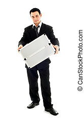 businessman showing metal container