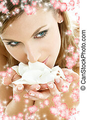 rose petals with small flowers #2 - lovely woman in spa...