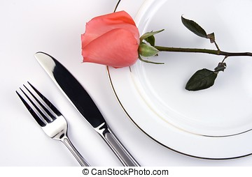 Place Setting With Rose - Place setting with pinky rose in...
