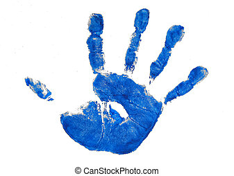 blue handprint - One childs blue painted handprint