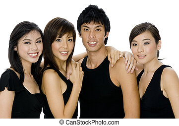Four Friends - A young man and three women in black casual...