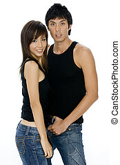 Asian Man and Woman - A young attractive asian woman with a...