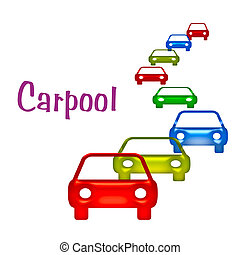 carpool sign - air pollution carpool sign illustration...