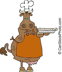 Cowpie - This illustration depicts a cow wearing an apron...