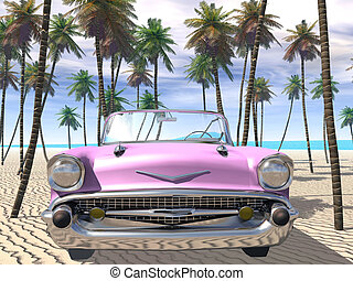 Pink Cadillac - 3D-Illustration of a pink cadillac on the...