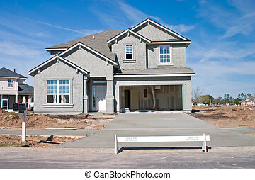 new home construction - partially complete new home with...