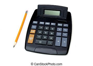 pencil and calculato - a pencil and calculator over a white...